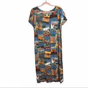 reyn spooner vintage Hawaiian travel poster dress